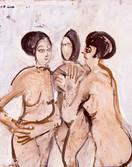 Les trois graces. Années 60. Huile sur kraft. 48 x38 cm