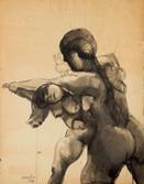Femmes en lutte. 1968. Encre sur papier. 56 x 44 cm