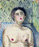Portrait de femme. 1975. Huile sur kraft. 24 x 20 cm