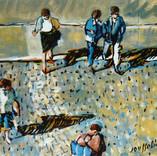 Pietons traversant une rue. 1990. Huile sur toile. 35x37 cm. Collection JM et C Introvigne