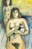 Femme nue avec son chat. 1974. Tempéra sur journal le Monde daté du 28 mai 1974. 50 x 33,5 cm