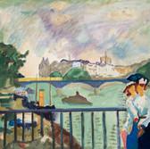 D'aprés Le Pont des Arts de Pierre Bonnard. Années 80. Tempéra sur papier. 53,5 x 47,5 cm