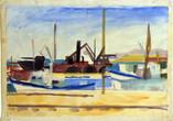 Le port. Années 50. Gouache sur papier. 54 x 36 cm