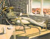 La sieste. Années 70. Tempéra sur papier. 56 x 44 cm