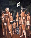 femmes à bandelettes 145 x 120 Huile sur Kraft marouflé Année 70