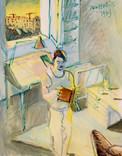 Autoportrait du peintre. 1973. Tempéra sur papier. 35,5 x 28,5 cm