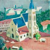 Eglise Saint Remy à Vanves. Années 80. Huile sur kraft. 65 x 50 cm