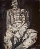 L'homme. 5 avril 1962. Huile sur kraft. 46 x 38 cm