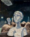 Le buste métaphysique. 1969. Huile sur kraft. 56 x 44 cm