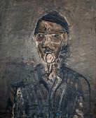 Autoportrait de l'artiste. Années 60. Huile sur kraft. 64 x 54 cm