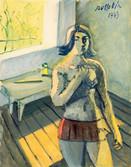 Femme au couteau. 1973. Camaïeux. 1972. Tempéra sur papier. 38 x 28 cm.