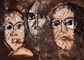 3 têtes. Années 60. Huile sur kraft. 51 x 37 cm