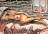 femme nue allongée. Années 70. Tempéra sur kraft. 36 x 26,5 cm