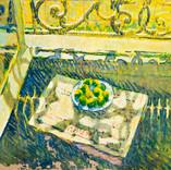 Fruits sur bord de fenêtre. 25 janvier 1988. Tempéra sur kraft. 57x87 cm