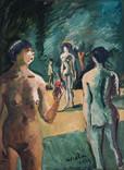 Le jardin d'Eden.1973. Huile sur journal le Journal du Dimanche daté du 9/09/1973. 55 x 39,5 cm