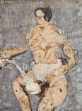 Années 60.Technique mixte sur papier journal marouflé  73x54 cm