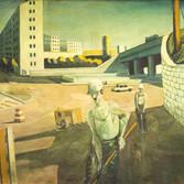 Ouvrier porte de Brancion. Années 80. Huile sur toile. 115x148 cm.