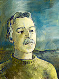 André Marfaing artiste peintre (1935-1987). Années 70. Huile sur journal Lutte ouvriere. Mars 1976. 36x28 cm.