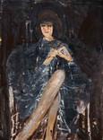 La dame. Années 60. Huile sur kraft. 73 x 55 cm