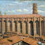 Toulouse, les Jacobins. Années 80. Huile sur toile 27 x 41 cm