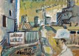 Le chantier. 1975. Tempéra sur papier journal. 32 x 22 cm