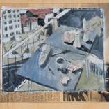 Petit déjeuner sur le balcon. Années 80. Tempéra sur papier journal Libération daté du 23/10/1985. 26x21 cm
