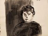 Colette magny, musicienne, auteur-compositeur-interprète(1926-1997). Années 60. Encre et lavis sur papier. 58 x 45 cm