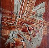 Abstraction 1985 28 x 22 Huile sur Kraft marouflé