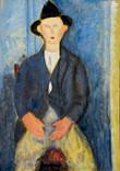 Copie de l'homme au chapeau de Modigliani. Années 70. Tempéra sur papier. 55,5 x 49 cm