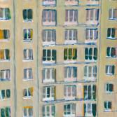 L'immeuble de Vanves. Tempéra sur papier. Années 80. 56 x 44 cm