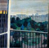 Vue du parc le soir. 1983 55 x 41 Huile sur Kraft marouflé sur carton