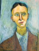 Portrait de Charles Beaudelaire? Années 70. Technique mixte sur papier. 55,5x44 cm