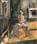 Marianette. Années 70. Technique mixte sur papier. 52,5 x 44 cm