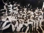 Le pugillat. Années 60. Lavis et encre sur papier. 65 x 50 cm