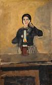 Femme et lampe à pétrole. 1967. Huile sur kraft. 88 x 55 cm