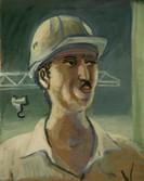 Portrait d'un ouvrier algérien. Années 70. Huile sur kraft. 30,5 x 24,5 cm