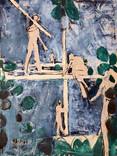 Les charpentiers. 13 mars 1964. Huile sur kraft. 92 x 72 cm