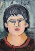 Portrait du peintre Atila Biro (1931-1987). 1974. Huile sur kraft. 25,5 x 18 cm