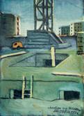 Chantier rue Marceau. 1976. Huile sur journal. 32,5 x 24 cm