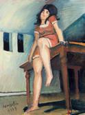 Le rendez vous. 1973. Huile sur kraft. 37 x 28 cm