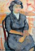 Portrait d'Elisabeth. Octobre 1950 41 x 27 Huile sur Kraft marouflé