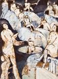 Années 60. Huile sur papier journal. 74 x 53,5 cm