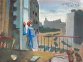 Femme au balcon. 1975. Tempéra sur kraft. 27 x 35,5 cm