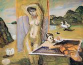 La plage. Hommage à Giorgio de Chirico. Années 70. Tempéra sur papier. 56 x 44,5 cm