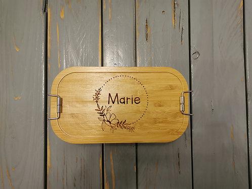 Metall - Brotdose mit Holzdeckel