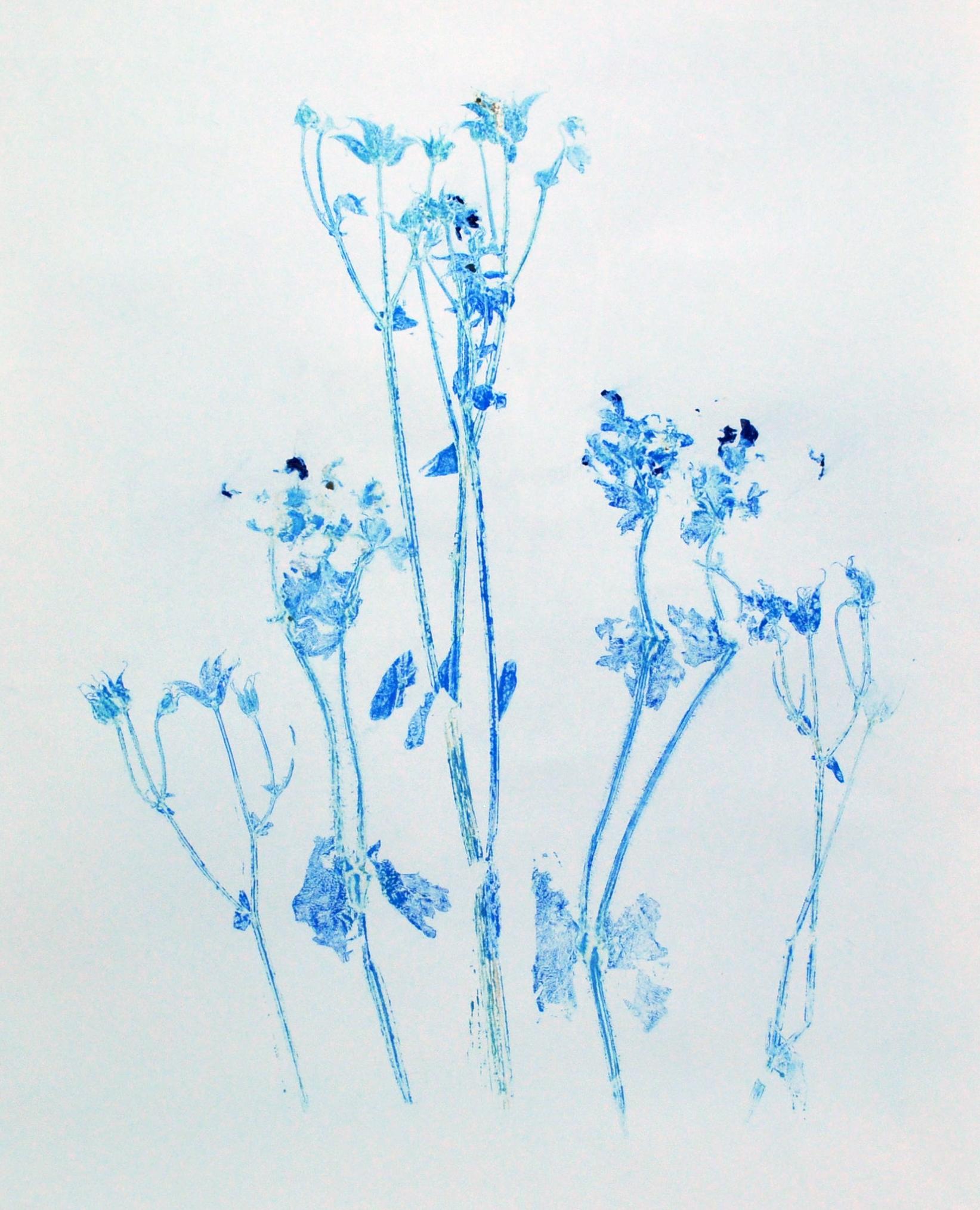 Blue flower monoprint 2