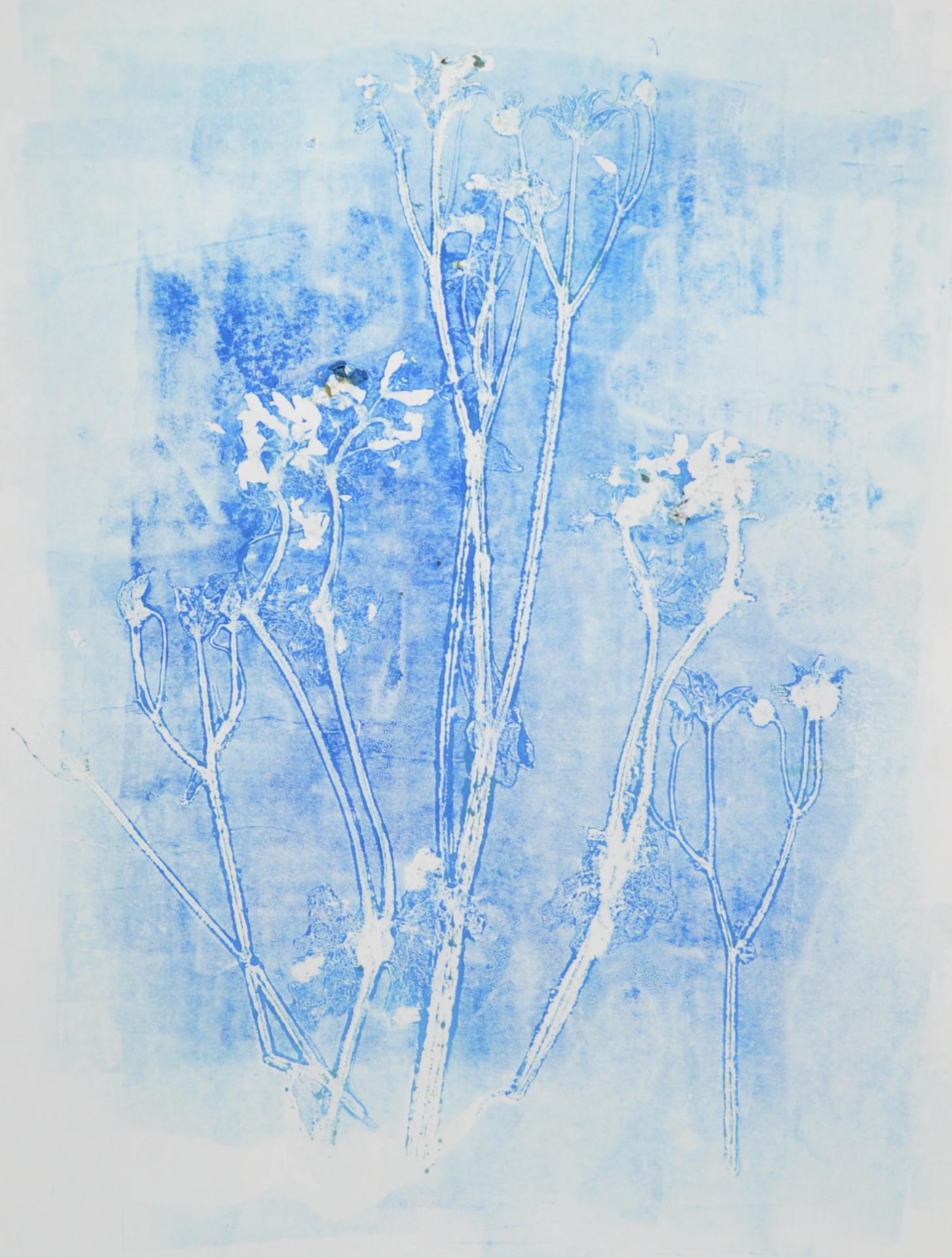 Blue flower monoprint ghost