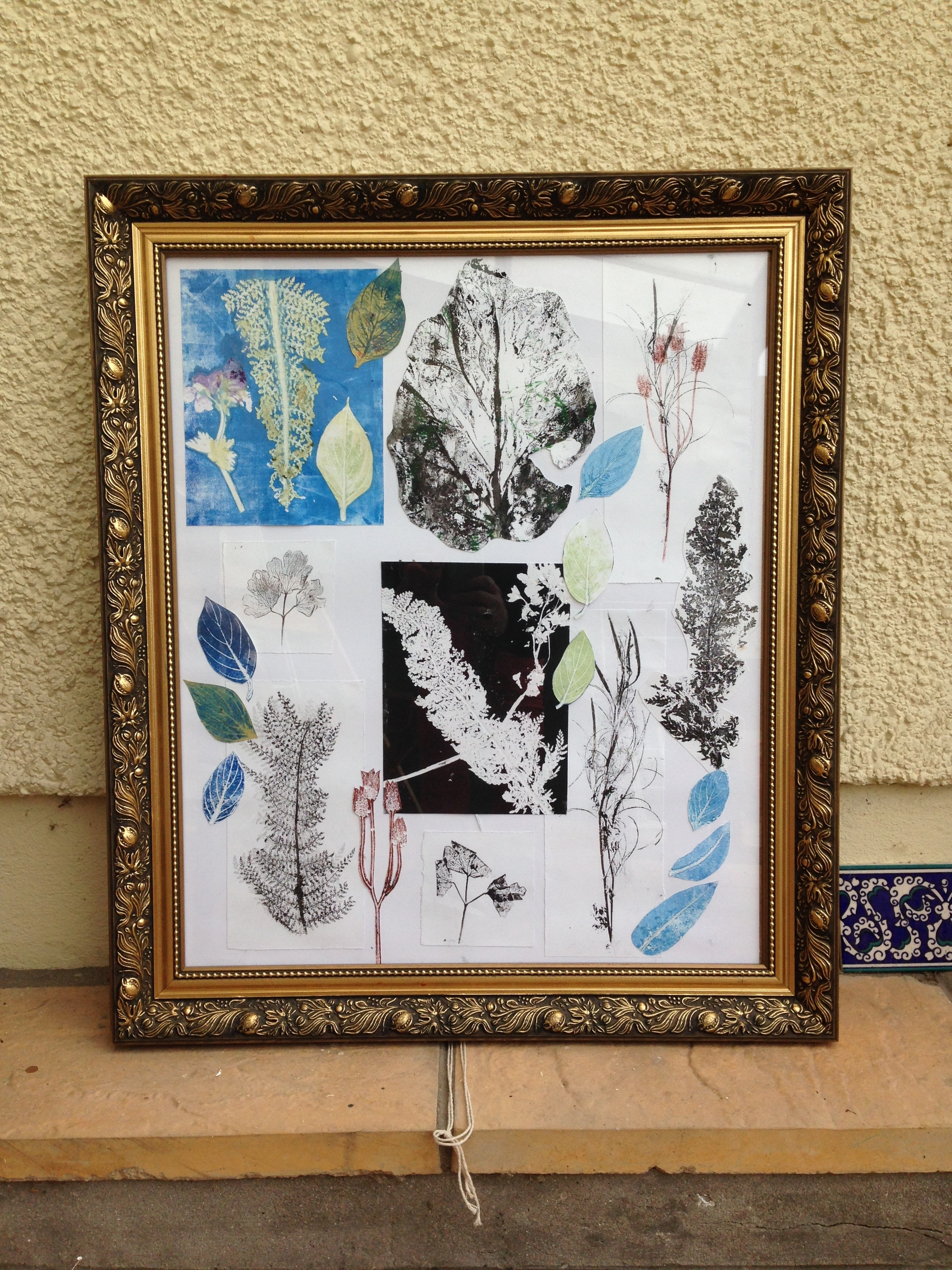 Collage of mono prints, framed