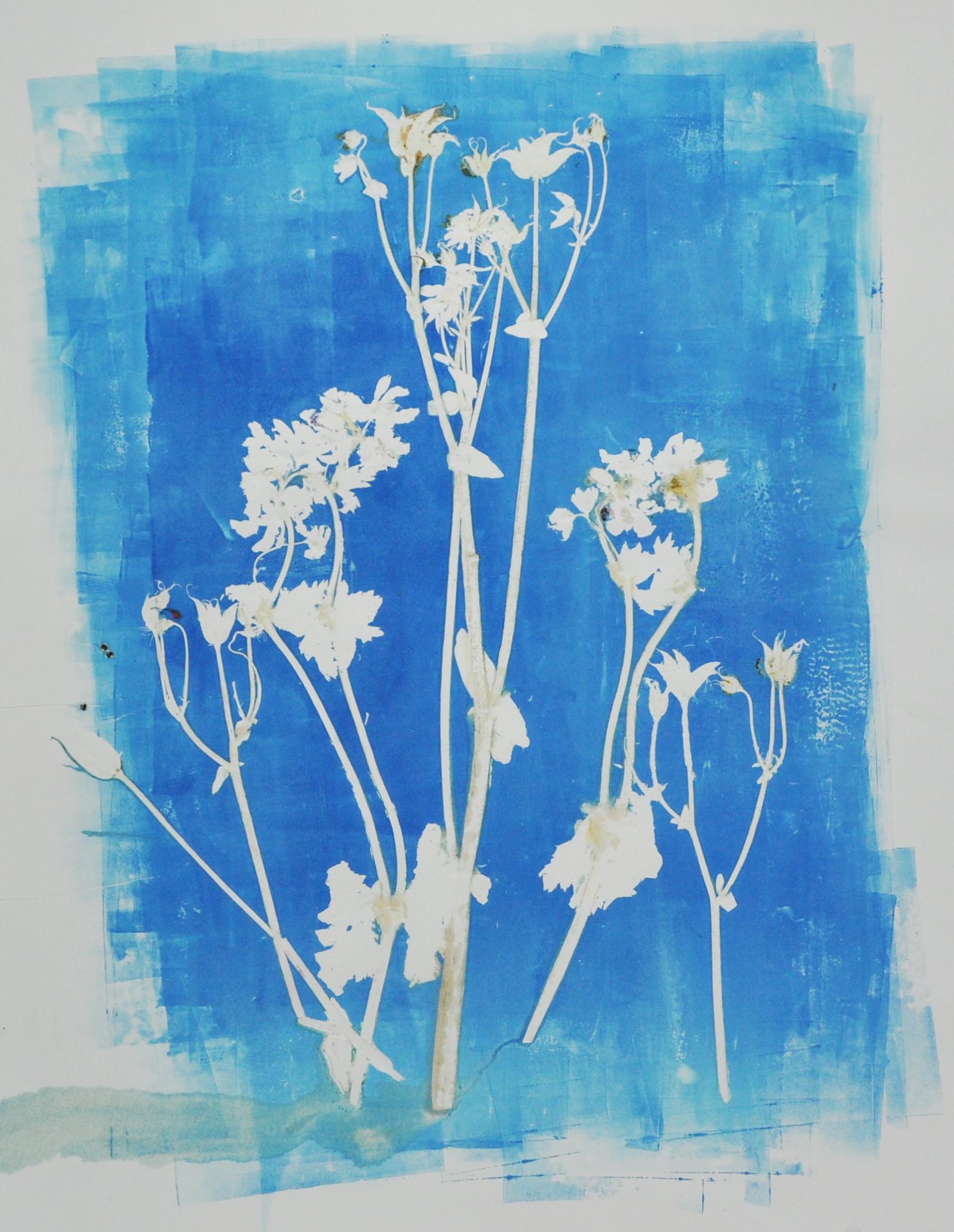 Blue flower monoprint