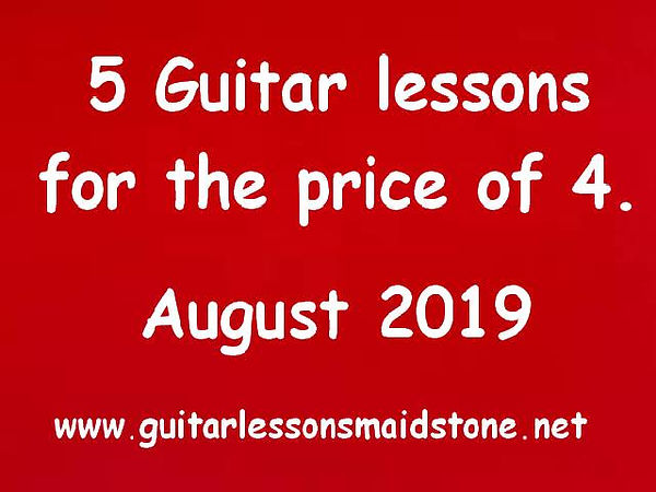 Special August offer. 5 guitar lessons for the price of 4.